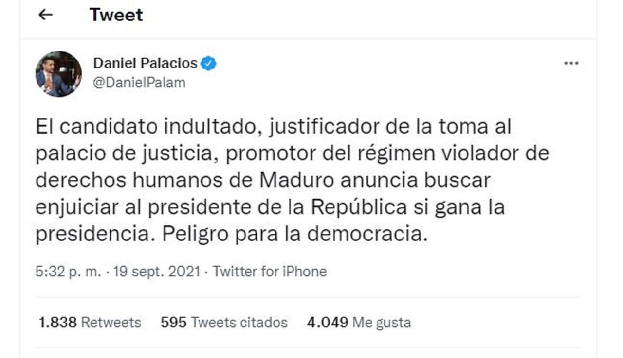 Trino del ministro del Interior Daniel Palacio, sobre Gustavo Petro