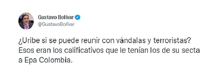 gustavo bolivar senado: crítica a Uribe por encuentro con epa colombia