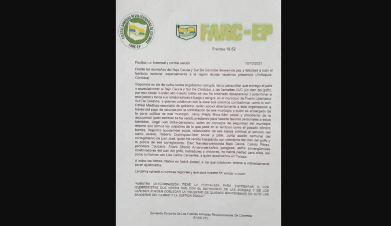 Panfleto con amenazas que apareció en el sur de Córdoba.
