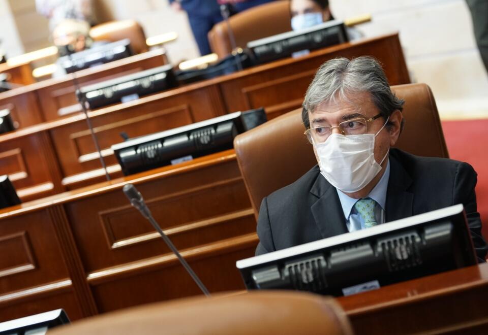 Carlos Holmes Trujillo en la votación de moción de censura en su contra.