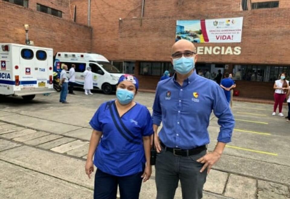Marisol Sánchez y Jorge Bolívar, secretario de Salud del Tolima.