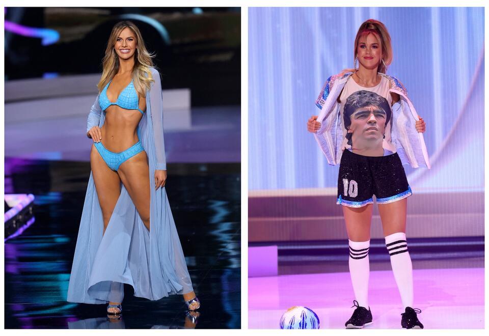 Miss Argentina, Alina Luz Akselrad hizo un homenaje a Maradona con su traje típico en Miss Universo.
