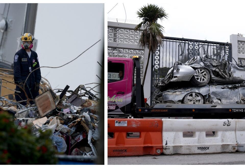Sacan carros bajo los escombros tras derrumbe de edificio en Surfside, Miami