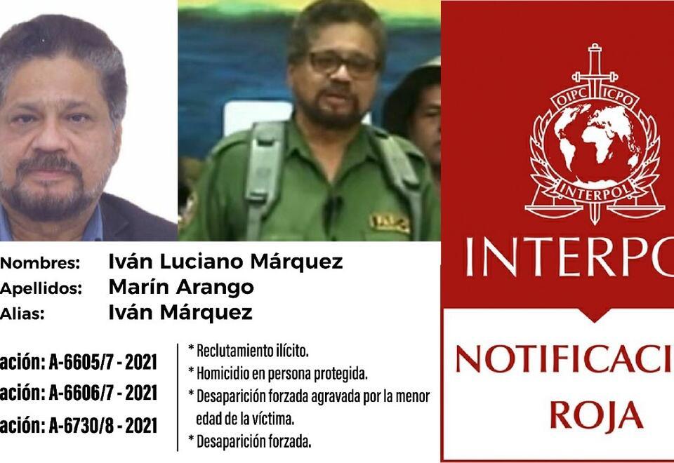 Circular roja de interpol a Iván Márquez