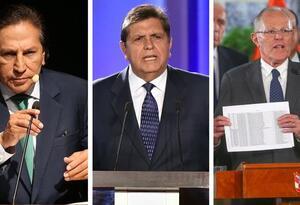 Los expresidentes Alejandro Toledo, Alan García y Pedro Pablo Kuczynski.