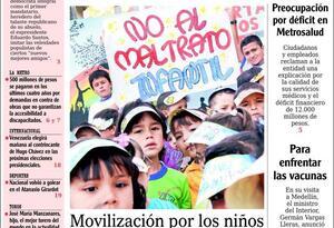Una de las portadas del periódico El Mundo, durante su circulación impresa en Medellín.
