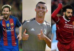 Lionel Messi, Cristiano Ronaldo y Mohamed Salah