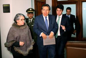 Fiscal General, Néstor Humberto Martínez, y la vicefiscal María Paulina Riveros, en la Corte Suprema.