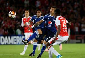 Ayron del Valle, el delantero en punta de Millonarios ante Santa Fe en la Copa Sudamericana
