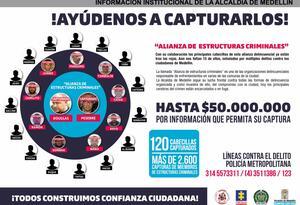 Cartel de los quince cabecillas de las organizaciones delincuenciales San Pablo, La Terraza y Robledo.