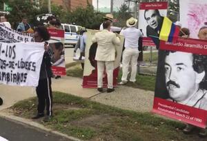 Protesta de líderes sociales en Nueva York