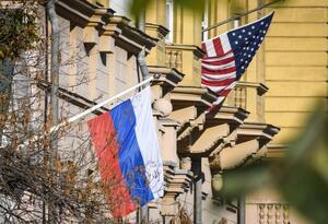 Bandera Rusia y Estados Unidos