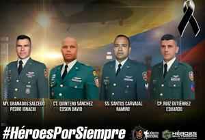 Los cuatro militares que fallecieron en el siniestro de Argelia (Cauca)