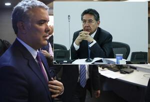 El presidente Iván Duque (izq) y el fiscal Néstor Humberto Martínez