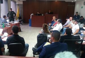 Audiencia judicial del alcalde de Envigado, Raúl Cardona.