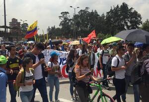 Marchas de estudiantes en varios sectores de Bogotá