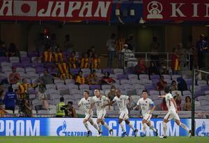 Jugadores de Kashima celebran en el Mundial de Clubes