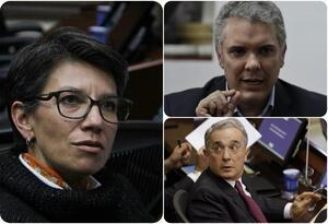 Claudia López, Iván Duque y Álvaro Uribe