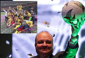 Huila, campeón de la Libertadores femenina (izq) y Jorge Enrique Vélez, presidente de la Dimayor (der)