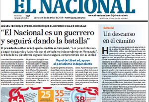 Portada diario El Nacional de Venezuela