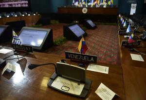 Sala de la Asamblea de la OEA, sección de Venezuela