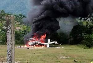 Helicóptero con matrícula HK4327 de la empresa Brinks que fue atacada en el Catatumbo