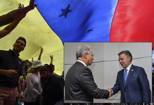Protestas en Venezuela (izq) - Álvaro Uribe y Juan Manuel Santos, expresidentes de Colombia, estrechan sus manos (der)