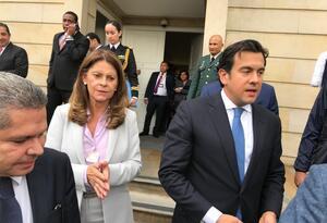 Senador Cambio Radical Rodrigo Lara y la Vicepresidenta Marta Lucía Ramírez