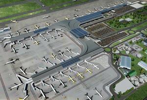 Los páneles solares del Aeropuerto El Dorado, con sistema de resistencia que le permite soportar fuertes ráfagas de viento
