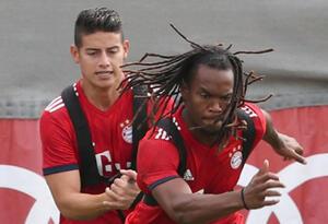 James Rodríguez y Renato Sanches entrenando en el Bayern Múnich
