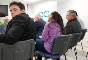 Carlos Bermeo, fiscal de la JEP, durante audiencia en su contra