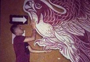 Mural pintado con sangre humana