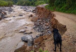 Lluvias de la madrugada causaron pérdida de la vía en Charta, Santander,