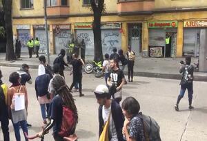 Enfrentamiento en el centro de Bogotá