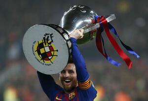 Lionel Messi, campeón con Barcelona de la Liga de España