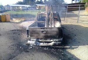 Vehículo incinerado en zona rural del municipio de Tibú en medio de asonada contra el Ejército
