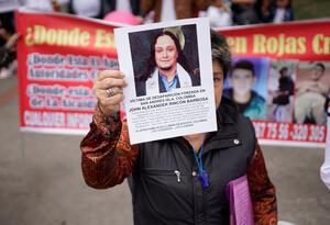 La denominada Marcha de los desaparecidos en Colombia, el primero de septiembre de 2018 en Bogotá