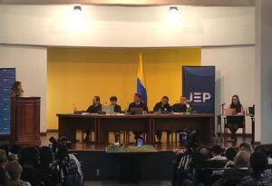 Audiencia de la JEP en el Palacio de Justicia de Medellín.