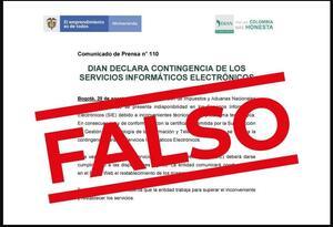 Dian alerta por falso comunicado que circula en redes sociales