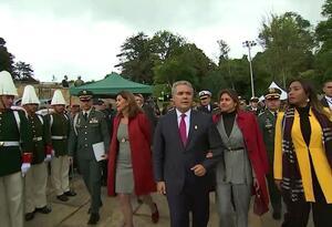 Presidente Iván Duque a su llegada al Puente de Bocayá