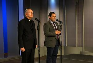 Monseñor Héctor Fabio Henao y el Alto Comisionado para la Paz, Miguel Ceballos