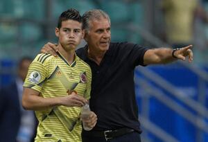James Rodríguez y Carlos Queiroz con la Selección Colombia