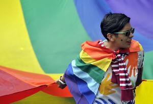 Marcha de la población LGBTI, en Bogotá.