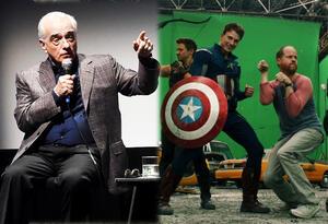 Martin Scorsese y el set de Avengers con el director Joss Whedon