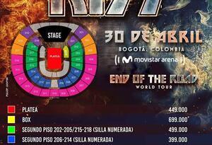 KISS en Colombia; precio de boletería para el 30 de abril de 2020