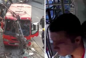 Por coger un casco, conductor de bus casi provoca una tragedia en Medellín