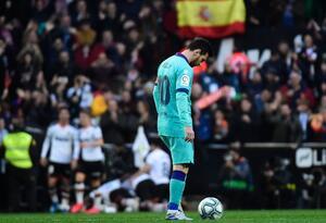 Lionel Messi en la derrota del Barcelona con Valencia