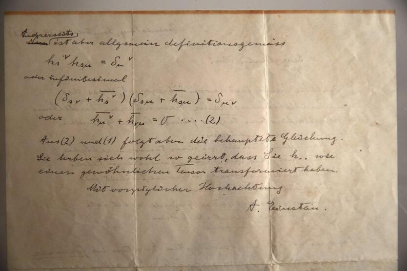 Una de las cartas de Albert Einstein.