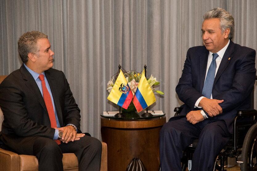 Reunión entre Iván Duque, presidente de Colombia, y Lenin Moreno, presidente de Ecuador