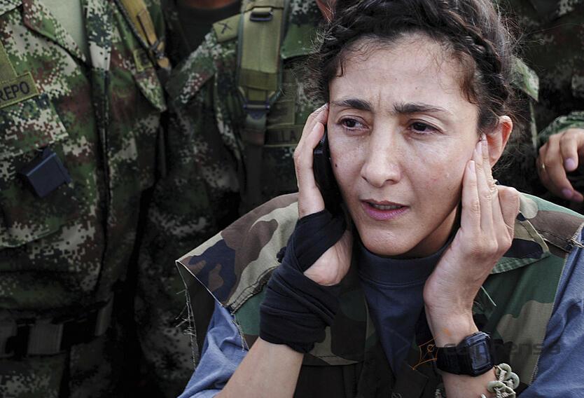 Íngrid Betancourt en la base militar de Tolemaida el día de su liberación tras la Operación Jaque
